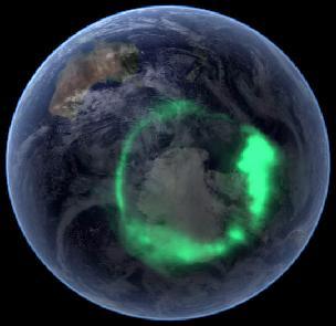 L'Antartide e l'aurora australe viste dallo spazio